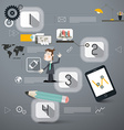 Four Steps Infographics Layout with Business Man vector image