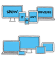 hand-drawn devices set vector image