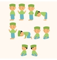 kids pray praying shalat islam moslem boy move vector image