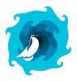 sailboat and waves of water vector image