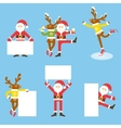 Santa Claus and Christmas reindeer Funny cartoon vector image