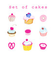 set of delicious cakes vector image