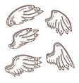 wings icons hand drawn set vector image