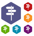 direction signs icons set vector image