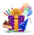 Birthday concept icons vector image