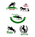 Riding club horse racing and polo game design vector image