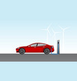 electric car charging on parking station vector image