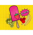 Ice cream pop art style vector image