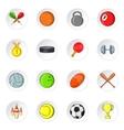 Sport equipment icons cartoon style vector image