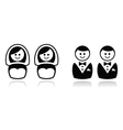 Gay and lesbian wedding icons set vector image vector image