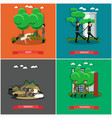 set of military square posters in flat vector image