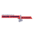 grand opening red ribbon cut with scissors cutting vector image