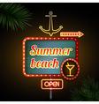 Neon sign Summer beach vector image