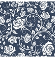 White and blue seamless pattern with roses vector image
