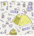 Hand drawn camping seamless pattern vector image