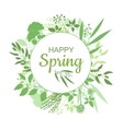 Happy Spring green card design with text in round vector image
