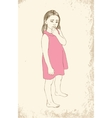 Little girl in a pink dress sitting vector image