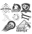 set of auto service labels in vintage style vector image