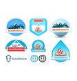 set of logos and emblem for travel to scandinavia vector image