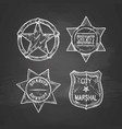 sheriff stars on blackboard vector image