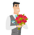 Young caucasian groom with bridal bouquet vector image