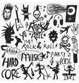 Rock music doodles vector image