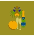 flat on background of champagne bell vector image