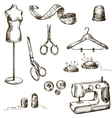set of sewing accessories drawings vector image