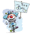 Clown on Unicle Hoding an Its a Boy Plackard vector image