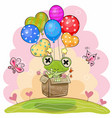 cute frog with balloons vector image