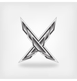 letter X metallic symbol vector image