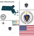 Map of Massachusetts with seal vector image