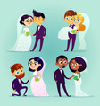 multicultural wedding couples vector image