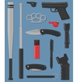 Set of self defense and street weapon vector image