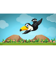 Toucan flying in the sky vector image