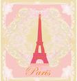 vintage retro Eiffel in Paris card vector image