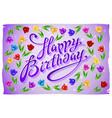 violet greeting card Happy Birthday tulip vector image