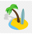 seascape with palm trees and surfboard isometric vector image