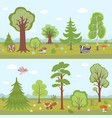 forest landscapes set cartoon nature vector image vector image