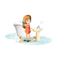 A girl combing her hair vector image