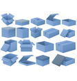 Set of blue boxes vector image