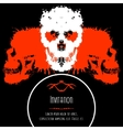 Scary Skulls Invitation or Postcard for Halloween vector image