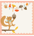 Cute autumn squirrel vector image