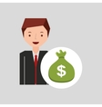 character businessman with sack money vector image