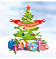 christmas tree with happy new year holiday vector image
