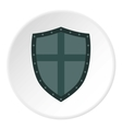 Shield with cross icon flat style vector image