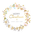 Merry christmas and new year gold flower wreath vector image