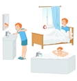 Boy doing his morning routine vector image
