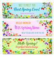 banners with spring time greetings quotes vector image