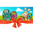 easter banner with bow and bunny - vector image